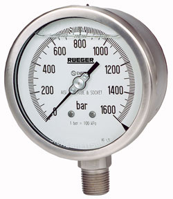 Buy Safety pressure gauge with bourdon tube, with solid front, case
