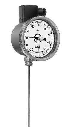 Pressure thermometer with rigid stem