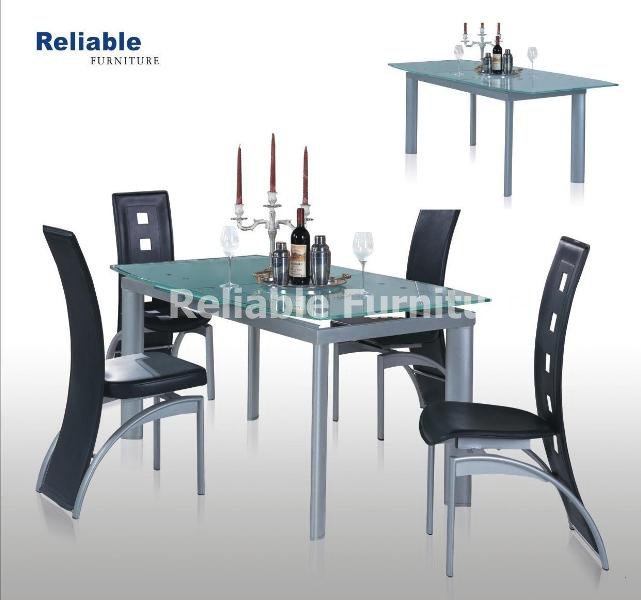 Buy Extension dining table with frosted glass & Silver painted legs, Dining chair with PVC