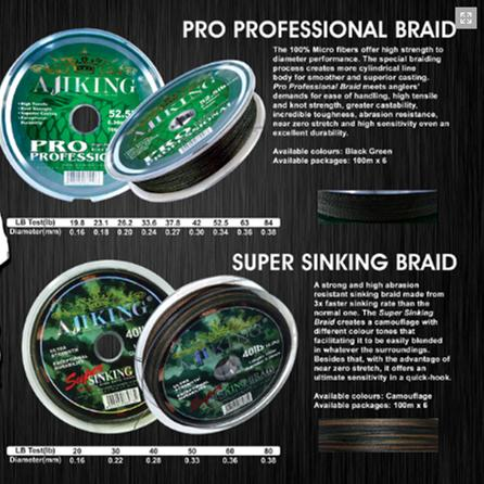 Buy Ajiking® Pro Professional Braid, Super Sinking Braid Lines