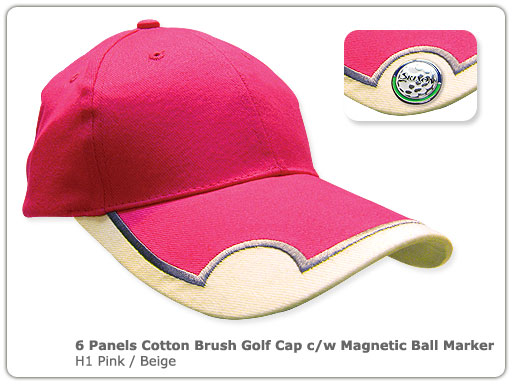 6 Panels Cotton Brush Golf Cap c/w Magnetic Ball Marker (H)