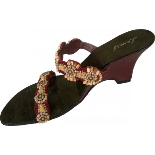 Buy Wedge sandals decorated with hand woven beads lm-1020
