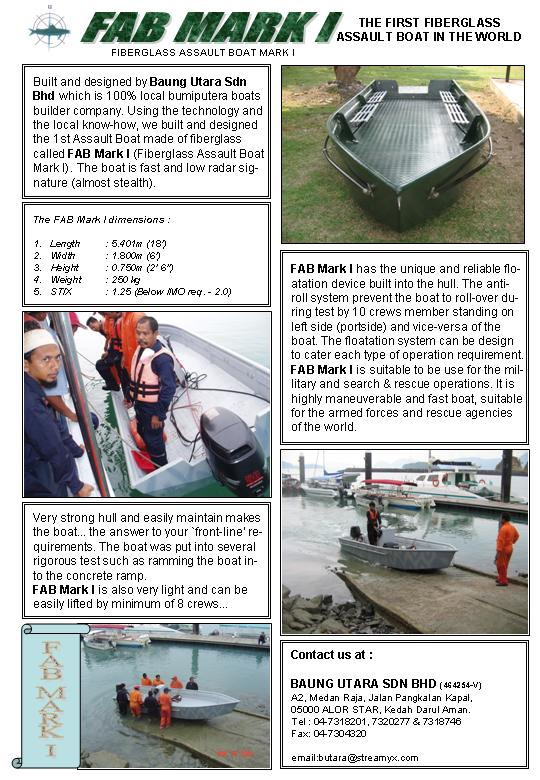 Buy FAB Mark 1, Baung Utara Unique Fiberglass Assault Boat