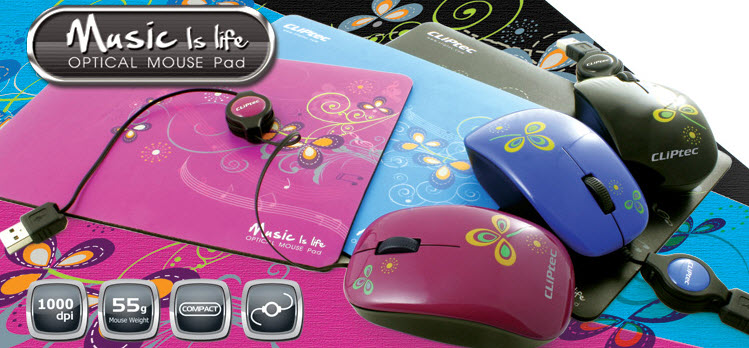 Buy CLiPtec RZS328 optical mouse and mouse pad in matching 'music is life'