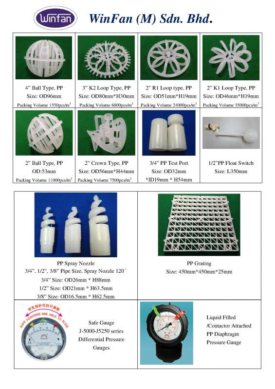 Buy Scrubber Parts - PP Packing, PP Spray Nozzle, PP Grating, Differential Pressure Gauges