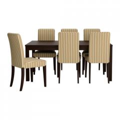 Table and 6 chairs, brown-black, Linghem light