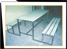 Metal Benches with Table