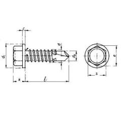 Hex Washer Self Drilling Screws (Tek Screw) , Din 7504-K