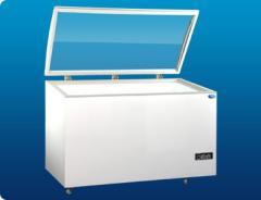 Flat Glass Curve Edge Lifting Lid Freezer