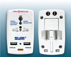 SUM All In One travel Adaptor with 2 USB Charger