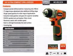 AEG 12V Ultra Compact Drill/Driver MC-BS12CB