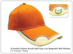 6 Panels Cotton Brush Golf Cap c/w Magnetic Ball