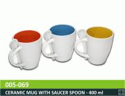 Ceramic Mug with Saucer Spoon