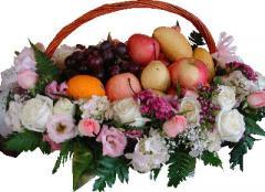 Flowers Around Fruits Basket
