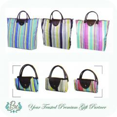 Foldable Stripes Shopping Bag