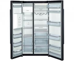 Side by side fridge-freezer Glass door black