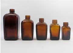 Square Amber Glass Bottle