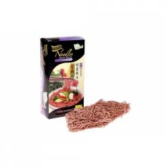 Pasta from wheat flour organic beetroot steam