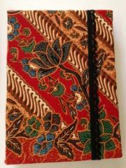 Handmade Red Floral Batik Notebook