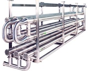 Tube-in Tube Heat Exchanger, for food applications with particles.