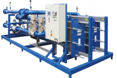 Customized district heating unit mounted on a skid including all necessary equipment.