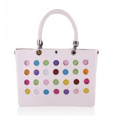 Handbag,Tote Bag-Polka Dot White (Medium)