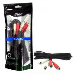 TNK TC2014 2 RCA Plug-2 RCA Socket Audio Mixing Interlink 3M (Nickel)
