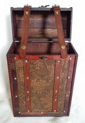 2-Bottle Antique Style Wooden Wine Box