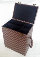 6 bottle Portable leather wine boxes black