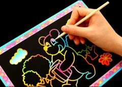 Rainbow Magic Scratch Art Painting Paper with Drawing Stick Kids Educational Toy