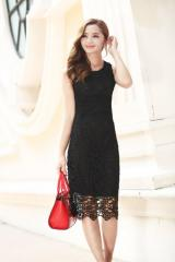 Korean Style Summer Sleeveless Sexy Lace A-line Dress