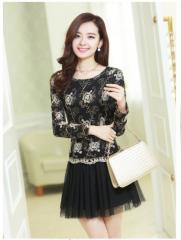Korean Style Women Black Floral Long Sleeves Wedding A-lines Dress