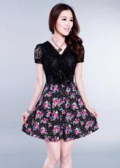 Women Elegant Lace Floral Black A-Line Short-Sleeves Dress