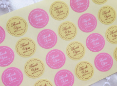 Thank You Sticker Label Seal Envelope Packaging Gift Box Craft Baking Decoration