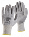 13G Black Speckled HPPE Gloves, Grey PU Palm Coated, Open Back, Knit Wrist & Smooth Finish