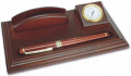 Desk top with clock & roller ball pen rosewood