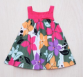FLORAL DRESS WITH FUCHSIA PINK STRAPS